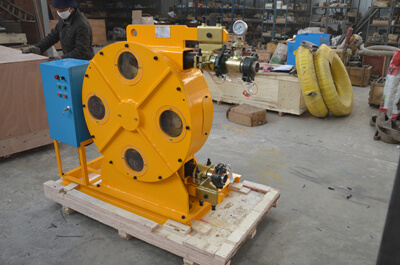 Peristaltic pump used for pumping Indium slurry