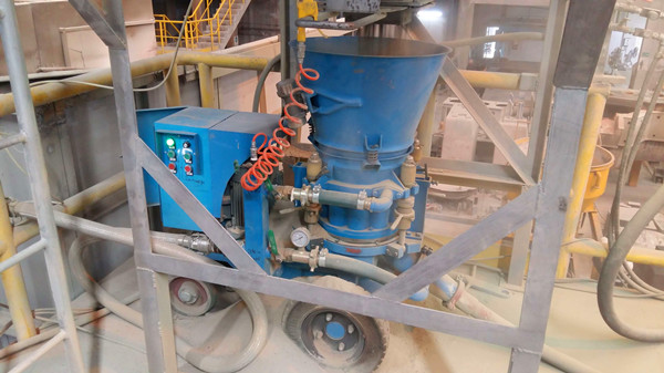 Refractory gunning machine in the Cement Rotary Kiln