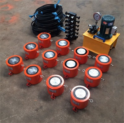 One pump with twelve single acting hydraulic cylinders