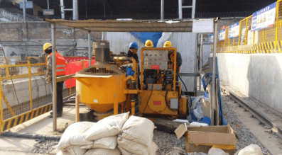 grout machine used for mixing and pumping bentonite