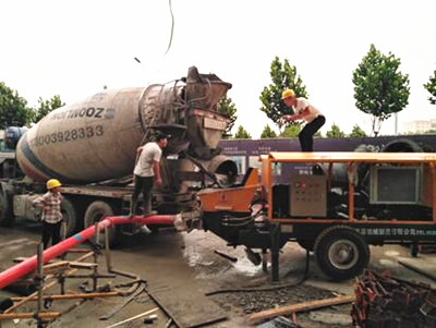 Trailer concrete pump used in Malaysia