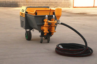 Double piston mortar spraying machine for building application