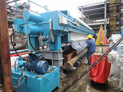 working site of filter press