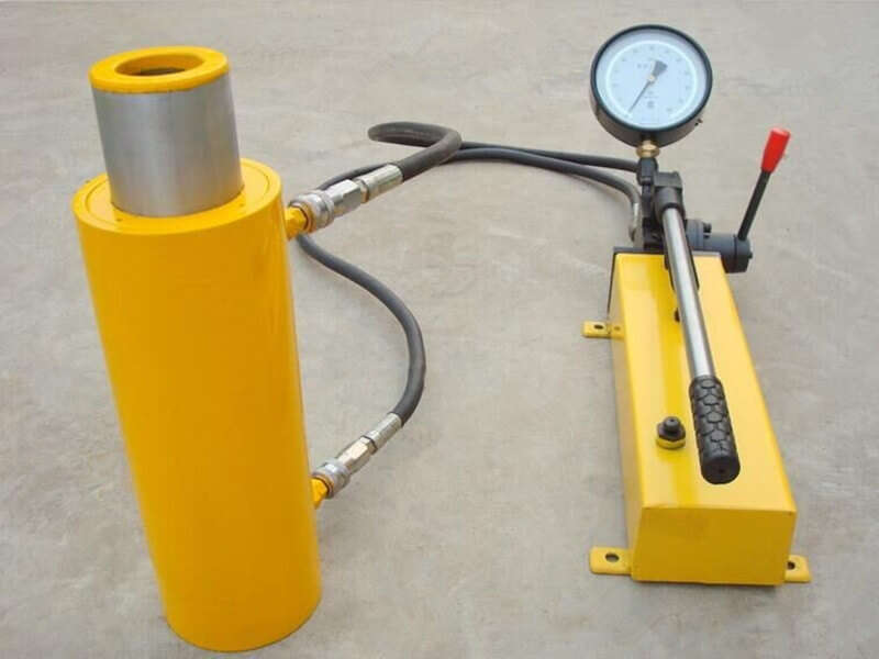 double acting hollow hydraulic jack with hand pump