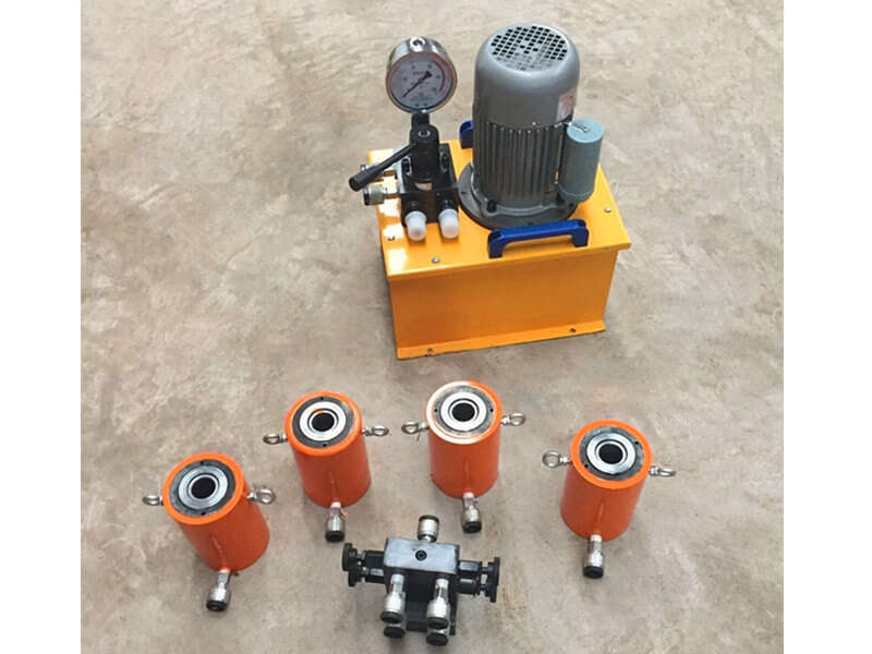 30ton single acting hole hydraulic jack with electric pump