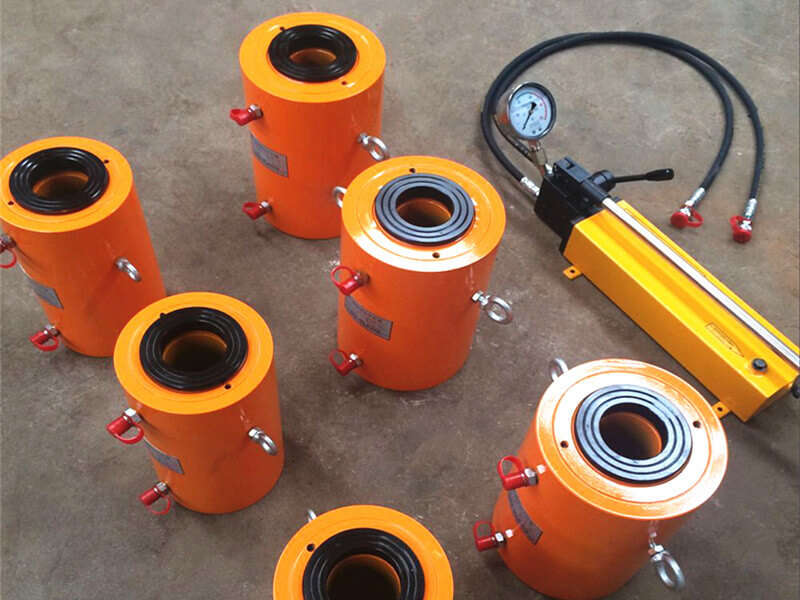 50ton double acting hollow hydraulic cylinder with hand pump